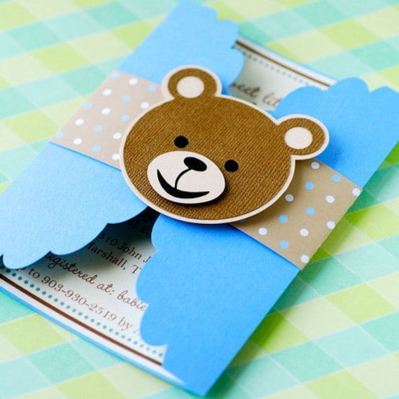 Gate Fold Teddy Bear Invitations Personalized