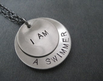 I AM a SWIMMER Necklace - Swimming Necklace on Gunmetal chain - Swimming Jewelry - Swim Team Necklace - Life Guard Necklace - Swim Team