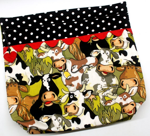 MORE2LUV Happy Herd Cows Cross Stitch Project Bag