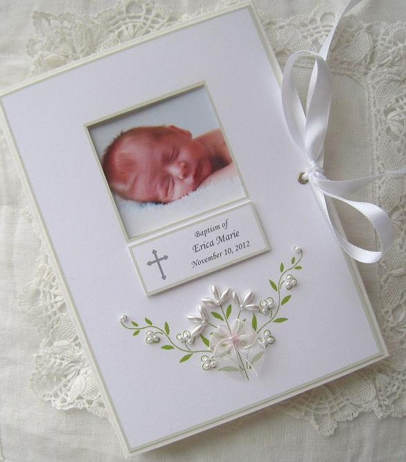 Baptism photo album personalized photo album baby gift like this item negle Gallery