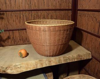 Large Vintage Chinese Japanese Bamboo Basket