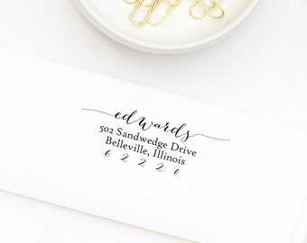 Return Address Stamp, Self-Inking Address Stamp, Calligraphy Address, Personalized Rubber Stamp, Wedding Stamp - Custom Address Stamp No. 43