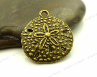 8 Sand Dollar Charms or Pendants 20x18mm Antique Bronze Tone Metal - BH30