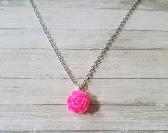 Girl Necklace / Flower Necklace / Flower Pendant Necklace / Flower Girl / Flower Girl Gift / Daughter / Little Girl Necklace / Easter