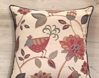 Bird Pillow - Floral Pillow Cover - Bird Throw Pillow - Folklore Pillow - 20x20 Pillow - Embroidered Pillow - Bird Decor