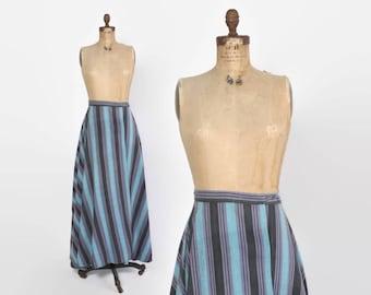 Vintage 70s Boho Wrap SKIRT / 1970s Ethnic India Cotton Striped High Waisted Bohemian MAXI