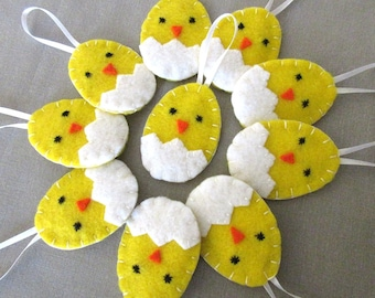 10 hatching chick ornaments, Easter chick decorations, cute easter egg decor, spring party favors, yellow baby bird ornies, baby animal