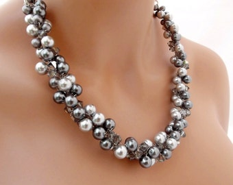 Grey Pearl Necklace, Chunky Wedding Necklace, Crystal and Pearl Necklace, Statement Necklace, Bridal Party