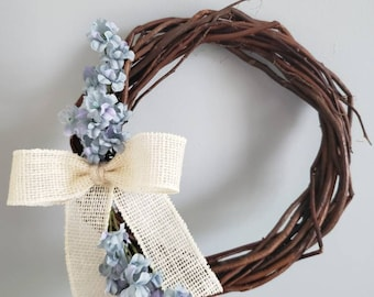 Mini Wreath | Mother's Day Wreath | Country Chic | Gallery Wall | Indoor Wreath | Spring Wreath | Burlap Bow