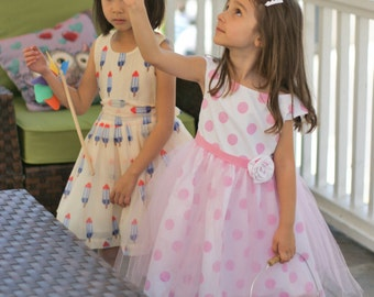 Cotton Polka Dot Dress, Special Occasion, Wedding Flower Girl, Party
