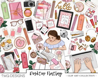 Planner Girl Fashion Girlboss Clip Art Watercolor Clipart PNG Desktop Flatlay Work Blogger Stationary Hand Drawn Planner Sticker Graphics
