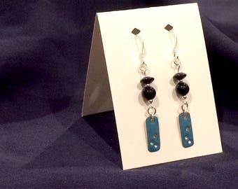 Onyx & Black Agate Sterling Silver Earrings with Enamel on Copper