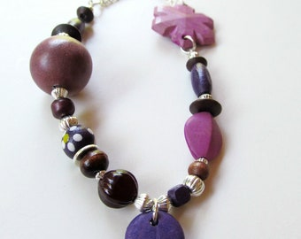 Purple Multi-Shaped Wood Bead Silver Tone Necklace