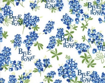 20% off thru Apr 24th BLUEBONNET PATCH Texas Wildflowers on ivory Moda fabric  by the yard quilt cotton  bluebonnets WORDS 33311-11