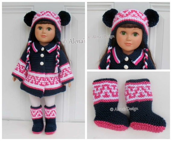 18 inch Doll Boots Coat Ear Flap Hat 3 PC Set Knitting Patterns American Doll Outfit My Life Knitting Jacket Pattern Christmas Gift Girl