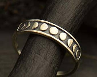Silver Moon Phases Stacking Ring. Sizes 6,7,&8. 925 Silver. Item 289.