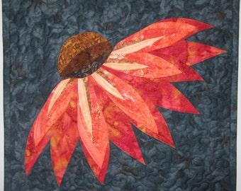 Art Quilt Coneflower, Wall Quilt, Wall Hanging, Nature quilt, Flower