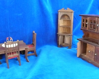 Miniature Doll House DINING ROOM SET Of 9 Pieces In A Walnut Finish Hutch