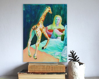 Acoustic Guitar&Giraffe on table bizzare portrait acrylic painting
