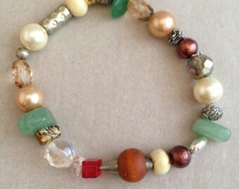 Vintage Eclectic Hand-Beaded Bracelet