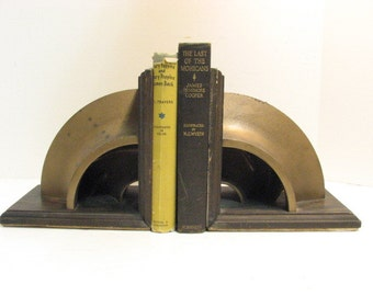 Industrial Gear Bookends, Folk Art, Cut Pulley Mid Century Vintage Book Ends