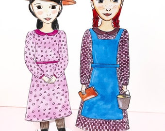 Anne and Diana Paper Doll Set - Anne of Green Gables - Paper Dolls - DIY