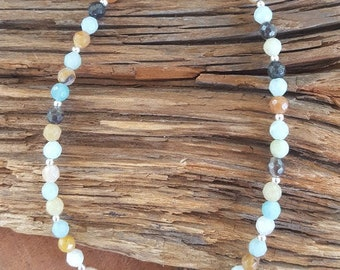 """9 1/2"""" Amazonite and Sterling Silver Anklet, Amazonite Anklet, Small Amazonite Beaded Ankle Bracelet, Faceted Amazonite Beaded Anklet"""