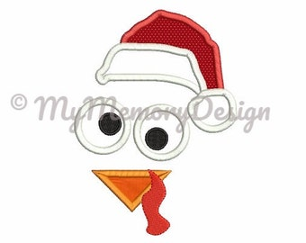 Thanksgiving Turkey Embroidery Design - Turkey face applique - Santa embroidery - Machine embroidery digital file - INSTANT DOWNLOAD 3 SIZE