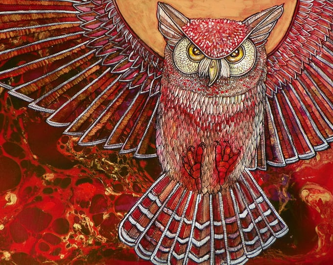 Great Horned Owl Contemporary Art Print by Lynnette Shelley