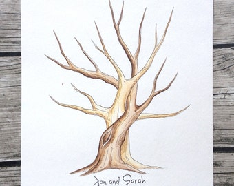 Entwined Tree Wedding guestbook Guest Book Tree fingerprint tree hand painted custom two trees