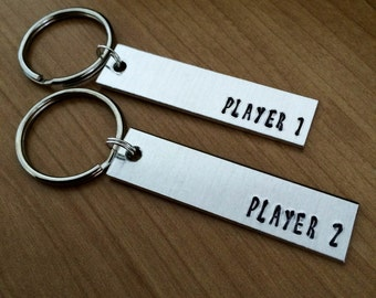Player 1 Player 2 keychains - geeky gifts - gifts for couples - Valentine's Day - Engagement Gift - Wedding Gift