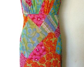 1990's Patchwork Print Mesh Dress