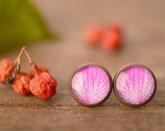 Pink orchid earrings, orchid petal earrings, flower earrings, floral earrings, nature earrings, nature jewelry, stud earrings