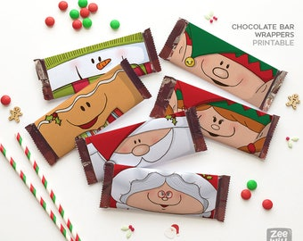 Christmas candy bar wrappers, candy bar wrappers, chocolate bar wrappers, chocolate, Elf, Santa, printable, Instant download, ZWDXMAS16009