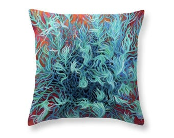 Rebirth, Red Sand, Green Sage, Surreal Abstract Art Pillow From My Pastel Painting, Artist Designed Decorative Throw Pillow