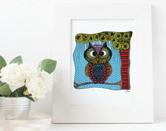 Quirky Owl Art Print - Jennifer Reid