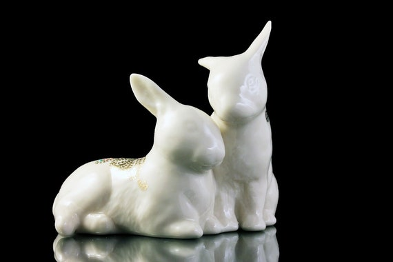 Lenox Rabbit Figurine, China Jewels Collection, Bunnies, Gold and Enamel Trim, Collectible