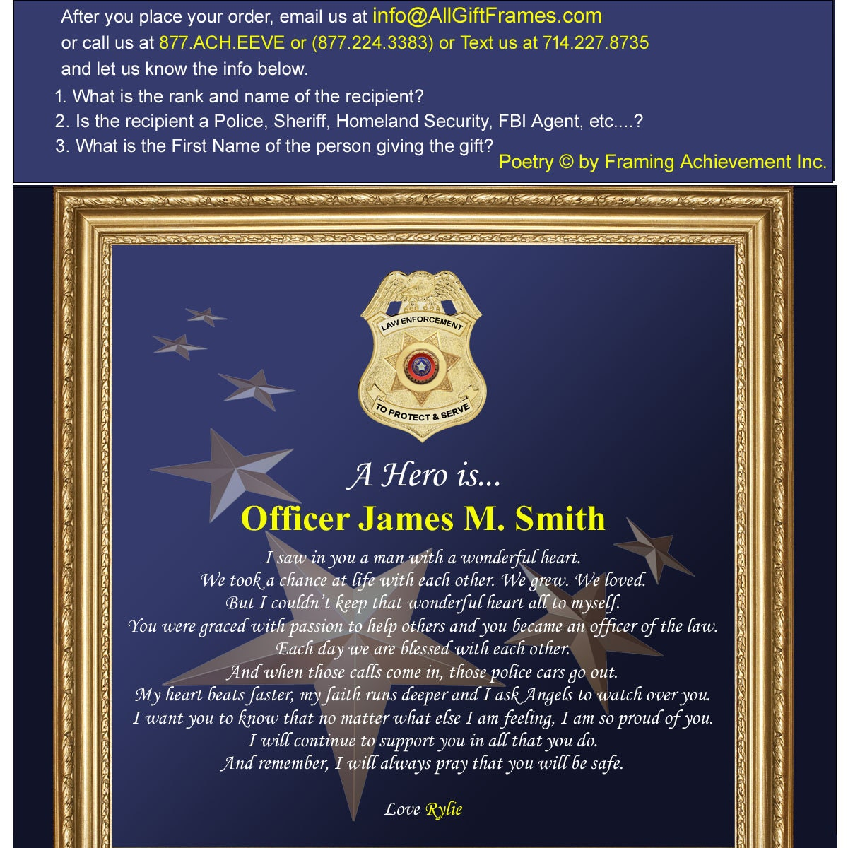 Sheriff and police officer picture frame personalized law 7499 jeuxipadfo Choice Image