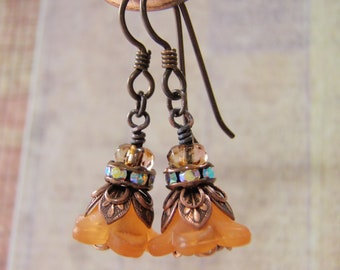Tiger Lily Sparkle Earrings Orange Lucite Flower Art Deco Antique Copper or Niobium Ear Wire Rhinestones