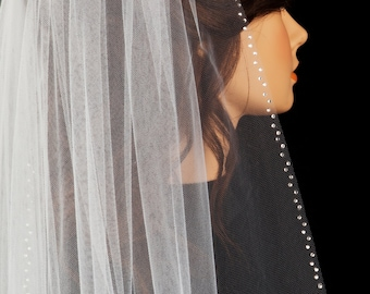 Jenna, Chapel length veil, Swarovski Crystal Rhinestone Veil, Bridal Veil, Made-to-Order Veil,Custom-Made Veil
