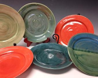 Mismatched set, handmade plates, set of 6