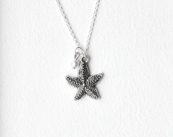Starfish Necklace- 925 Sterling Silver or silver tone Chain- Deep Ocean Nautical Charm Jewelry- Dark Silver Star Fish- Custom Birthstone