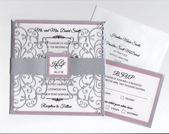 Elegant Silver and Rose Gold Lace Cut Gatefold Wedding Invitation - Choose Your Colors - Customize Your Own