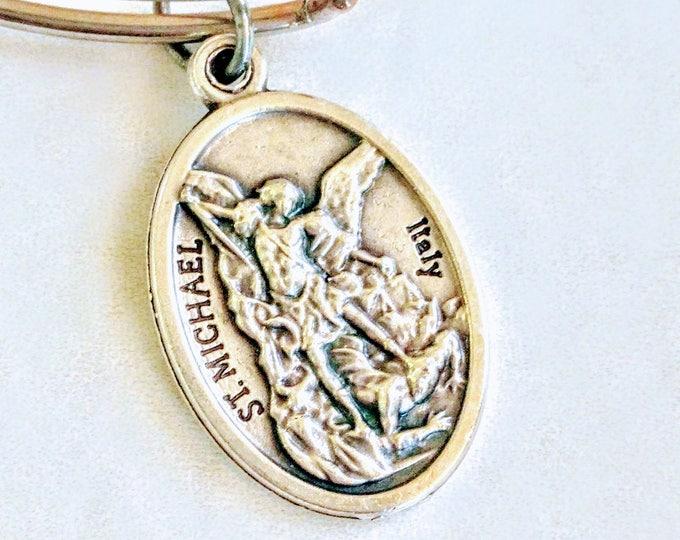 Featured listing image: Saint Michael bangle | Catholic Bangle, Bracelet | Patron Saint of Chivalry| Patron Saint of Police Officers| Patron Saint of Soldiers