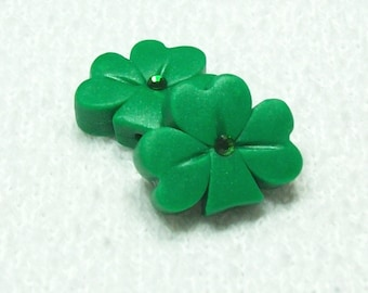 Shamrock Polymer Clay Beads Large Size with Matte Finish - Vertical Hole