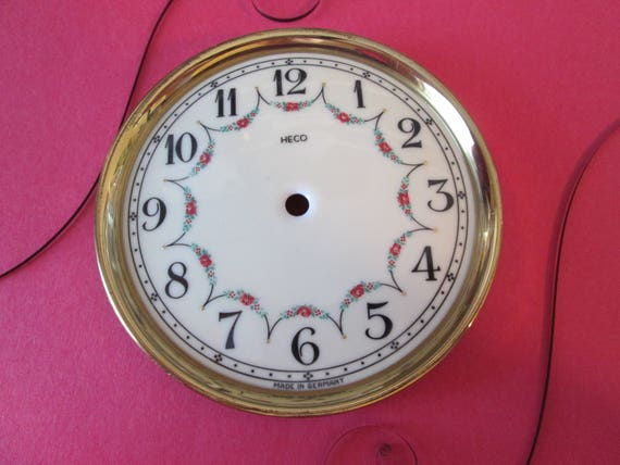"1 Vintage German Heco 4 1/2"" Ceramic and Brass Plated Anniversary Clock Dial and Bezel for your Clock Projects"
