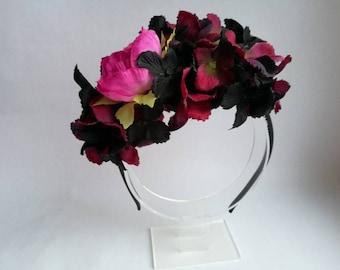Hydrangea flower headband Black Purple Pink flower headband Dark headband Mixed color headband Black hairband Dark floral headpiece