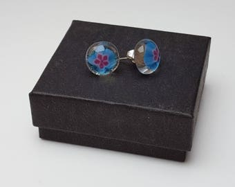 Blue and pink flower stud earrings