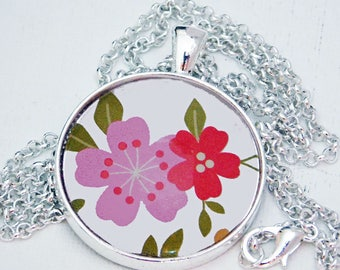 """Flower, 1 1/4"""" Glass Dome, Glass Pendant, Pendant Necklace, Glass Dome Necklace, Organza Gift Bag, Colorful Pendant"""