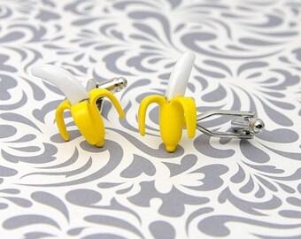 ON SALE Banana Cufflinks Yellow Fruit